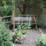 Memorial bench in the herb garden